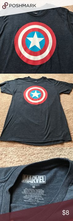 Captain America Tshirt Soft Captain America tshirt has been worn a few time but still in good condition :) I can wear a M/L in women's and I can wear this as well...make an offer! Marvel Shirts Tees - Short Sleeve