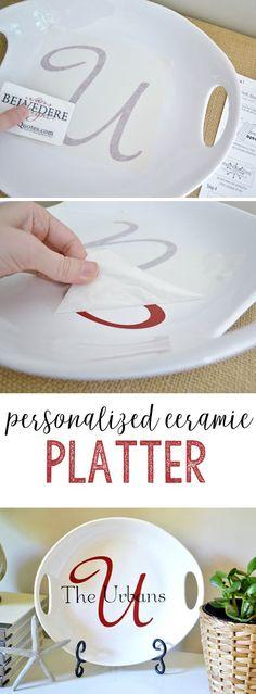 vinyl crafts | ceramic platter | wedding gift | vinyl | gift idea | personalized gift