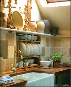 a different way to organize your kitchen... Country French kitchen... Love the set up.