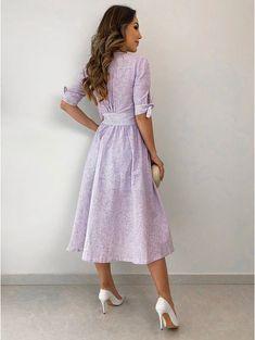 Vestido-Linho-Tayna Fall Dresses, Cotton Dresses, Nice Dresses, Casual Dresses, Fashion Dresses, 1940s Fashion, Look Fashion, Girl Fashion, Fairy Dress