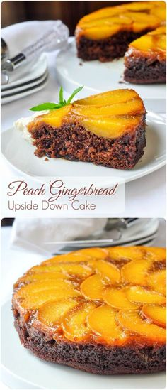 Peach Gingerbread Upside Down Cake - Peaches & ginger are a very complimentary flavour combination. Everyone who tries this cake loves it! Ideal for a summer weekend brunch too!