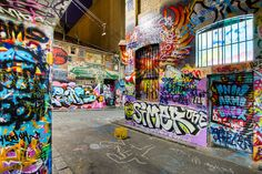 Hosier Lane by melbournian1, via Flickr graffiti art, legal wall. Melbourne, Australia
