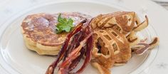 Pancakes with crispy bacon in Bali. #food #bali