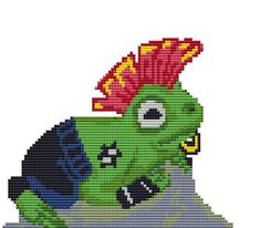 Punk Frog  Counted Cross Stitch pattern by FredSpools on Etsy