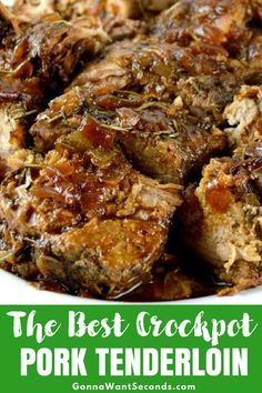 The Best Crock Pot Pork Tenderloin (With Video!) Crock Pot Pork Tenderloin is incredibly tender, moist,flavorful pork tenderloin with a fabulous pan sauce/gravy. All from scratch-no canned soup Crockpot Dishes, Crock Pot Cooking, Pork Dishes, Crock Pot Pork, Cooking Turkey, Cooking Oil, Crock Pots, Slow Cooker Recipes, Cooking Recipes