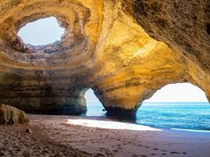 The southern coast of Portugal is lined with exquisite beaches and caves, including the famous Benagil Sea Cave (skylight included).