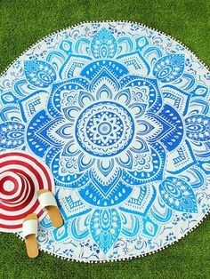 Blue Lotus Print Round Beach Blanket With Pom Pom