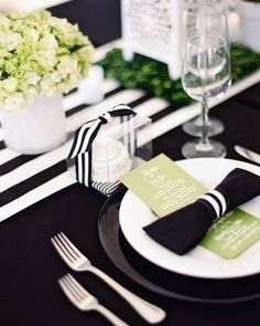 Love the colors.& Menus are set on the plates along with black napkins folded into the shape of a bow-tie and tied with a ribbon Bow Tie Napkins, Black Tablecloth, White Table Settings, Place Settings, Wedding Table, Our Wedding, Wedding Ideas, Wedding Cakes, Dream Wedding