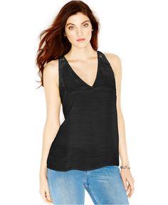 GUESS Lace-Back Tank Top - Tops - Women - Macy's