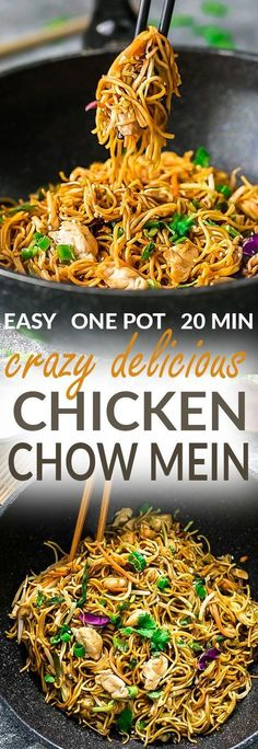 Chicken Chow Mein is the perfect easy weeknight meal! Best of all, it comes together in under 20 minutes with in just one pot! Forget calling that local Chinese takeout restaurant, this delicious recipe is so much better with authentic flavors. Seriously the best!! Plus makes great leftovers or make a batch for Sunday meal prep for school and work lunches! Plus step by step recipe video. #chinesefoodrecipes