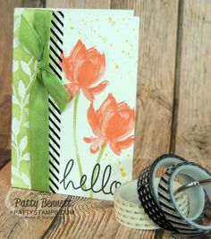 Stampin' UP! Lotus Blossom card featuring Stacked with Love washi tape! card by Patty Bennett #stampinup #washitape