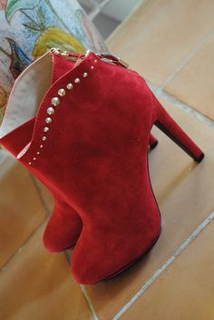 Zara studded red booties