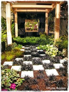 Very popular garden by Gregory Smaus, Native Root Designs and WSNLA, using planted pallets for 2 vertical art accents, and a checkerboard motif from black mondo grass and recycled glass. DO try this at home!