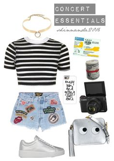"""""""CONCERT ESSENTIALS"""" by shinnanda on Polyvore featuring Topshop, MadeWorn, Prada Sport, Anya Hindmarch, Casetify and Alexis Bittar"""