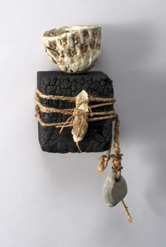 Shannon Weber, Oregon Encaustic Vessel woven, stitched, carved, paper, bones, beach stones. Greatly admire her work, natural and inventive.
