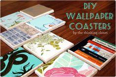 Wallpaper Crafts, Wallpaper Samples, Wallpaper Art, Wallpaper Ideas, Home Design, Cork Coasters, Custom Coasters, Idee Diy, Diy Home Crafts
