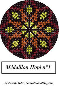 Hopi-inspired medallions and variations, from http://perlicotipeyote.canalblog.com/archives/2009/04/09/13320068.html