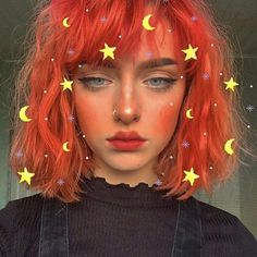 Harajuku Orange Short Curly Wig with Bangs - Trend Hair Makeup And Outfit 2019 Wigs With Bangs, Hairstyles With Bangs, Pretty Hairstyles, Bright Red Hairstyles, Hairstyles Videos, Everyday Hairstyles, Weave Hairstyles, Haircuts, Wedding Hairstyles