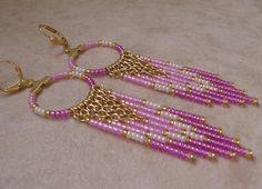 Seed Bead Beadwoven Earrings  Pinky/Purple by pattimacs on Etsy