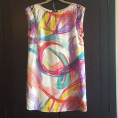 Milly Size 4 Multi-Colored Silk Dress Worn to a wedding, like new, excellent condition Milly Dresses Mini
