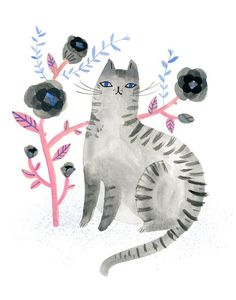 Blue Eyed Cat by Sarah Walsh by Tigersheepfriends on Etsy #CatIllustration