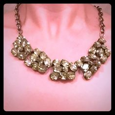 J Crew necklace Big shiny rhinestones on antiqued metal setting. All stones are intact. J. Crew Jewelry Necklaces