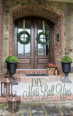 Easy DIY Moss Ball Urns for the Front Entry