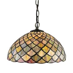 12inch European Pastoral Retro Style Pendant Light Mesh Pattern Colorful Pattern Glass Shade Bedroom Living Room Dining Room Kitchen Lights