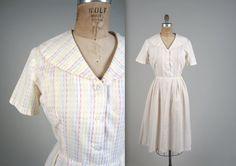 1950s geometric striped dress  vintage 50s by MintageClothingCo