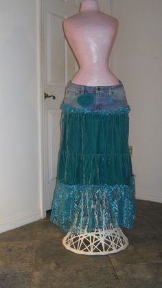 Narissa+sea+goddess+jean+skirt+teal+velvet++door+bohemienneivy,+$92.00