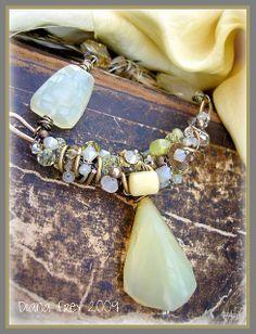 African Opal choker by Diana Frey Wire Wrapped Jewelry, Wire Jewelry, Jewelry Crafts, Jewelry Art, Beaded Jewelry, Jewelery, Vintage Jewelry, Jewelry Design, Beaded Bracelets