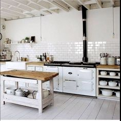 Pretty much a perfect white country kitchen.  Might make the island larger so the family can sit at it, but otherwise beautiful!