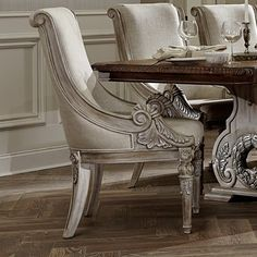 The Orleans II White Wash Traditional Formal Dining Room Set features old world style with leaf detailing. Add this beautiful set to your living space. Solid Wood Dining Chairs, Dining Arm Chair, Dining Room Chairs, Side Chairs, Dining Table, Dining Rooms, Desk Chairs, Swivel Chair, Chair Cushions