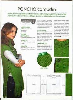 Poncho Comodín - would love to find in English. Poncho Au Crochet, Pull Crochet, Crochet Stitches, Knit Crochet, Loom Knitting, Knitting Patterns Free, Knit Patterns, Baby Knitting, Knitting Projects