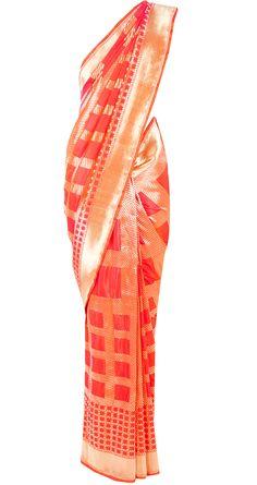 Orange and pink banarasi checkered handwoven sari available only at Pernia's Pop-Up Shop.