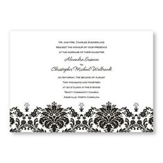 Invitation  http://www.theamericanwedding.com/wedding-invitations/damask-edge-wedding-invitations.html