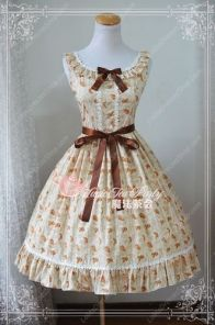Sweet Elegant Goldfish Print Knot Lace Cotton Magic Tea Party Lolita Dress