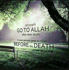 All people go to Allah after their death A wise person goes to Allah before his death.