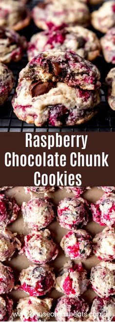 Raspberry Chocolate Chip Cookies - Raspberries - Ideas of Raspberries #Raspberries - Bursting with fresh raspberry flavor and studded with chunks of melted dark chocolate these Raspberry Chocolate Chunk Cookies take your classic chocolate chip cookies to a whole new level! #raspberries #darkchocolate #cookies