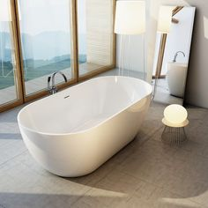 47 Design Bathroom with Unique Bathup Concept - Home-dsgn Bad Inspiration, Bathroom Inspiration, Floor Graphics, Remodeling Costs, Concept Home, Large Windows, Clawfoot Bathtub, Corner Bathtub, Small Bathroom