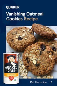 Vanishing Oatmeal Cookie Recipe, Oatmeal Cookie Recipes, Cookie Desserts, Quaker Oatmeal Raisin Cookies, Keto Oatmeal, Healthy Oatmeal Recipes, Easter Desserts, Biscuits Aux Raisins, Cookies Et Biscuits