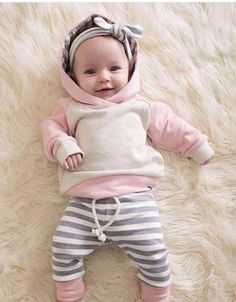 1871f43c7d1f Autumn 2018 Newborn Baby Boys Girls Clothes Casual Long Sleeve Stripe  Hooded Tops Pants 3Pcs Outfits