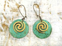 Big Disk earrings Spiral Hipster jewelry by Gypsymoondesigns