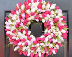 Pink Tulip Wreath- Spring Wreath- Mother's Day Wreath- Gift for Mom- Mother's Day Gift- Shabby Chic Decor