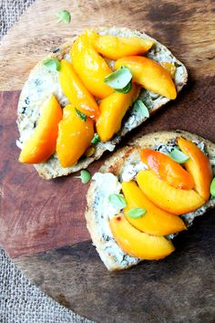 Blue cheese toasts with peaches