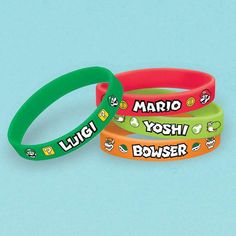 Wear these awesome green, lime green, red, and orange Super Mario Bros. rubber bracelets to show your love for your favorite Super Mario Bros. Super Mario Party, Super Mario Bros, Super Mario Birthday, Mario Birthday Party, Super Mario Brothers, 5th Birthday, Birthday Ideas, Party Party, Hama Beads Minecraft