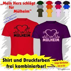 T-Shirt  Mein Herz schlägt für Mülheim  individuell gestaltbar mit Flexdruck