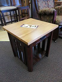 Amish built end table set crafted from Brown Maple with a contrasting finish.  This set has a small drawer in each of the two tables perfect for stashing remotes or other small items.  (One set of two currently available)  *note:  coffee table also available  **AMISH TOUCH EXCLUSIVE