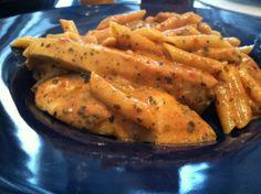 Garlic Pesto Chicken with Tomato Cream Sauce