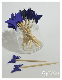 Kit com 20 toppers de borboletas azul escuro.  Valor do kit: 13,00. R$ 13,00